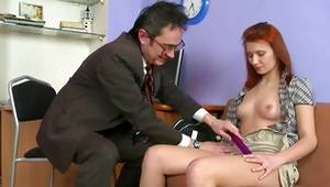 Amazing red head bitch is blowing an old perfect dick
